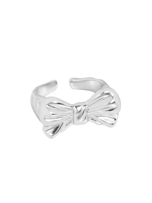 Silver [14 adjustable] 925 Sterling Silver Bowknot Vintage Band Ring